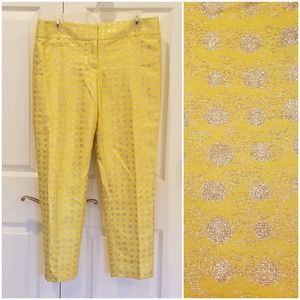 LOFT Zoe Sunshine Gold Polka Dot Cropped Pants